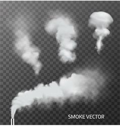 Set realistic transparent smoke steam vector