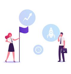 Shareholder businesswoman in formal wear hold flag vector