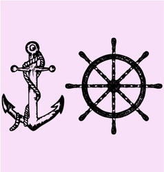 ships anchor wheel vector image