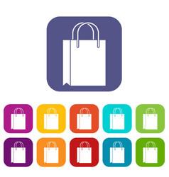 Shopping bag icons set vector