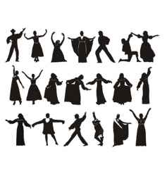 silhouette medieval dancers vector image