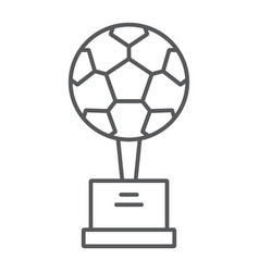 soccer cup thin line icon sport and award goblet vector image