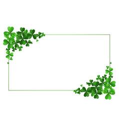 st patricks day clover leaves frame background vector image