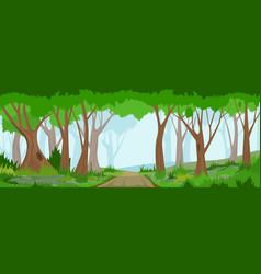 Summer forest with road vector