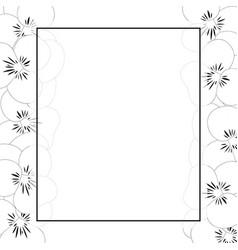 violet pansy flower outline banner card border vector image