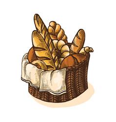 Watercolor fresh bread basket vector