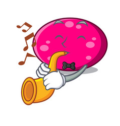 with trumpet ellipse mascot cartoon style vector image