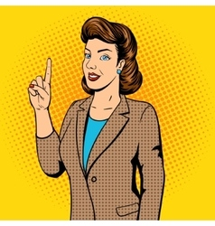 Woman point finger gesture pop art vector image