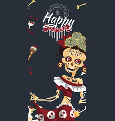 woman skeleton at day dead party poster vector image