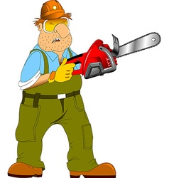 worker with an electric saw vector image