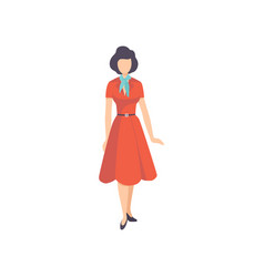 Young woman wearing retro red dress vintage vector