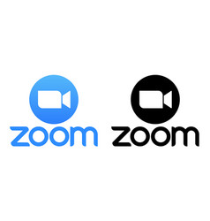Zoom app logo in black and blue color vector