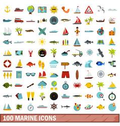 100 marine icons set flat style vector image