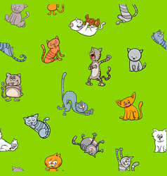 cartoon wallpaper design with cats vector image vector image