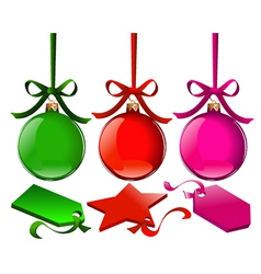 Christmas balls with tags vector image vector image