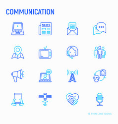 communication thin line icons set vector image