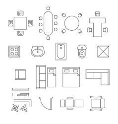 Furniture linear symbols Floor plan icons vector image vector image