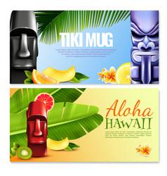 hawaiian party horizontal banners vector image