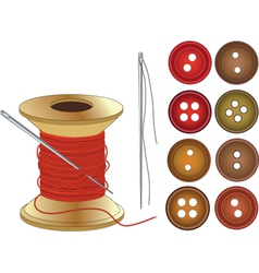 Needle Coil of red threads and buttons vector image vector image