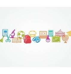 School background with icons vector image