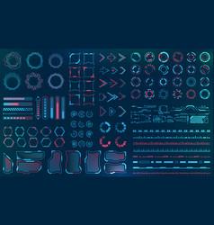 Set hud interface elements - lines circles vector