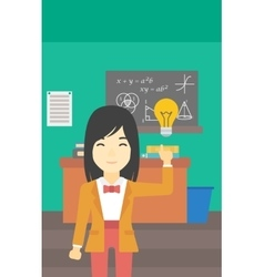 Student pointing at light bulb vector image