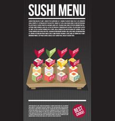 Sushi menu template flat vector