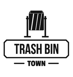bin trash town logo simple black style vector image
