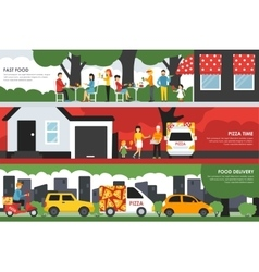 Fast food pizza time and delivery flat concept vector