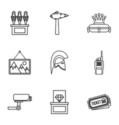 Going to museum icons set outline style vector image vector image