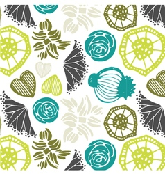 Seamless pattern with floral elements abstract vector image