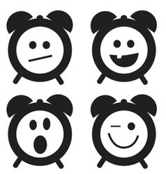Smiles clock doodle cartoon set vector image vector image
