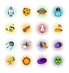 Space icons comics vector