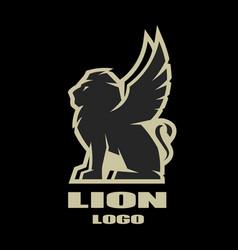 Winged lion logo symbol vector