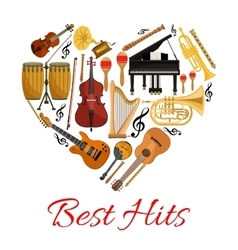 Best hits heart icon of musical instruments vector image vector image