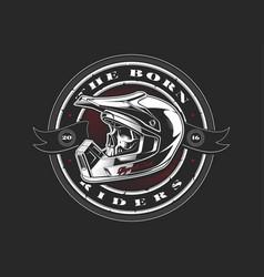 biker skull in helmet vector image vector image