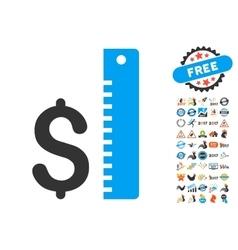 Dollar rate icon with 2017 year bonus symbols vector