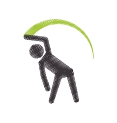 drawing colored silhouette athlete gymnastic with vector image