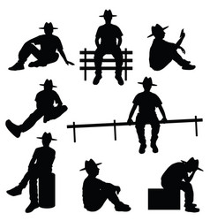 man silhouette sitting with hat vector image vector image