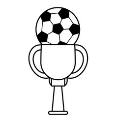 trophy soccer ball winner outline vector image