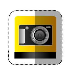 Black digital professional camera icon vector