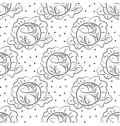 Cabbage pattern contour coloring with dots vector