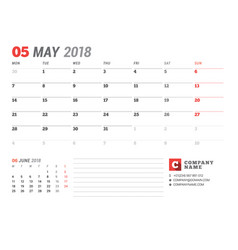calendar template for may 2017 business planner vector image