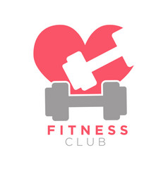 fitness club logo design with dumbbells on vector image