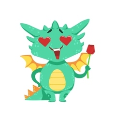 Little Anime Style Baby Dragon In Love Holding vector image