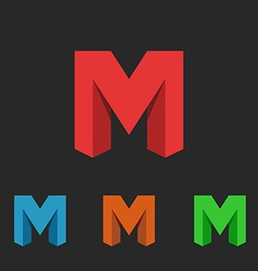 Logo letter M a set of neon icons symbol site vector image