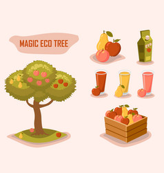 magic eco tree gardening farm fresh retro style vector image vector image