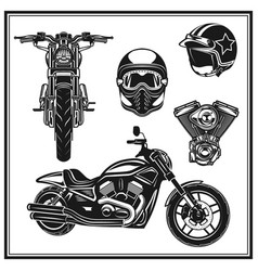 motorcycle front view and side view engine vector image vector image