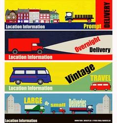 Retro auto delivery web banners vector