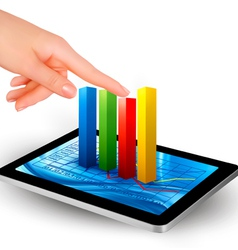 tablet with diagram and hand vector image
